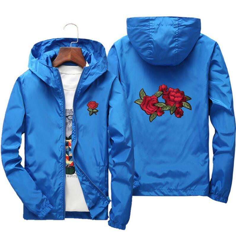 0c1a48f1da Rose Jacket Windbreaker Men And Women's Jacket New Fashion White And Black  Roses Outwear Coat