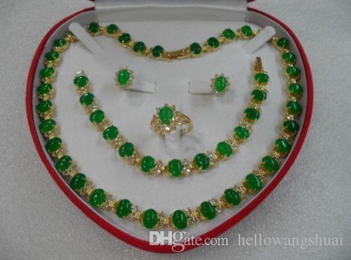 gioielli di giada verde gemma giallo oro delle donne anello dell'orecchino della collana del braccialetto + box