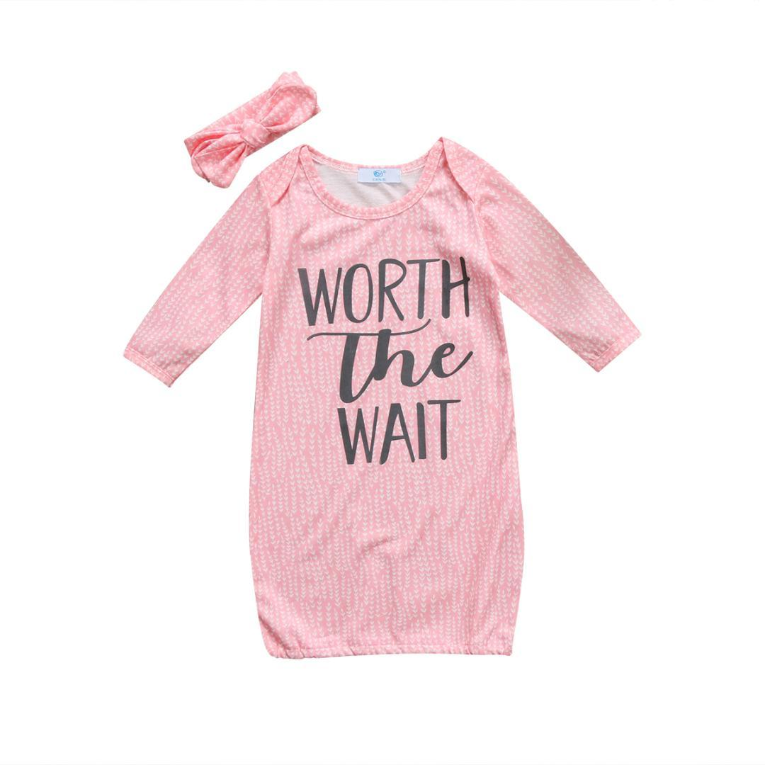 262c6c93aebb Infant Baby Girl Coming Home Outfit Worth The Wait Baby Gown Hat 2ps ...