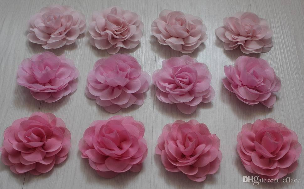 8cm soft chiffon fabric flowers for girls hair accessories,chiffon flowers for babies headbands,toddler hair clip flowers