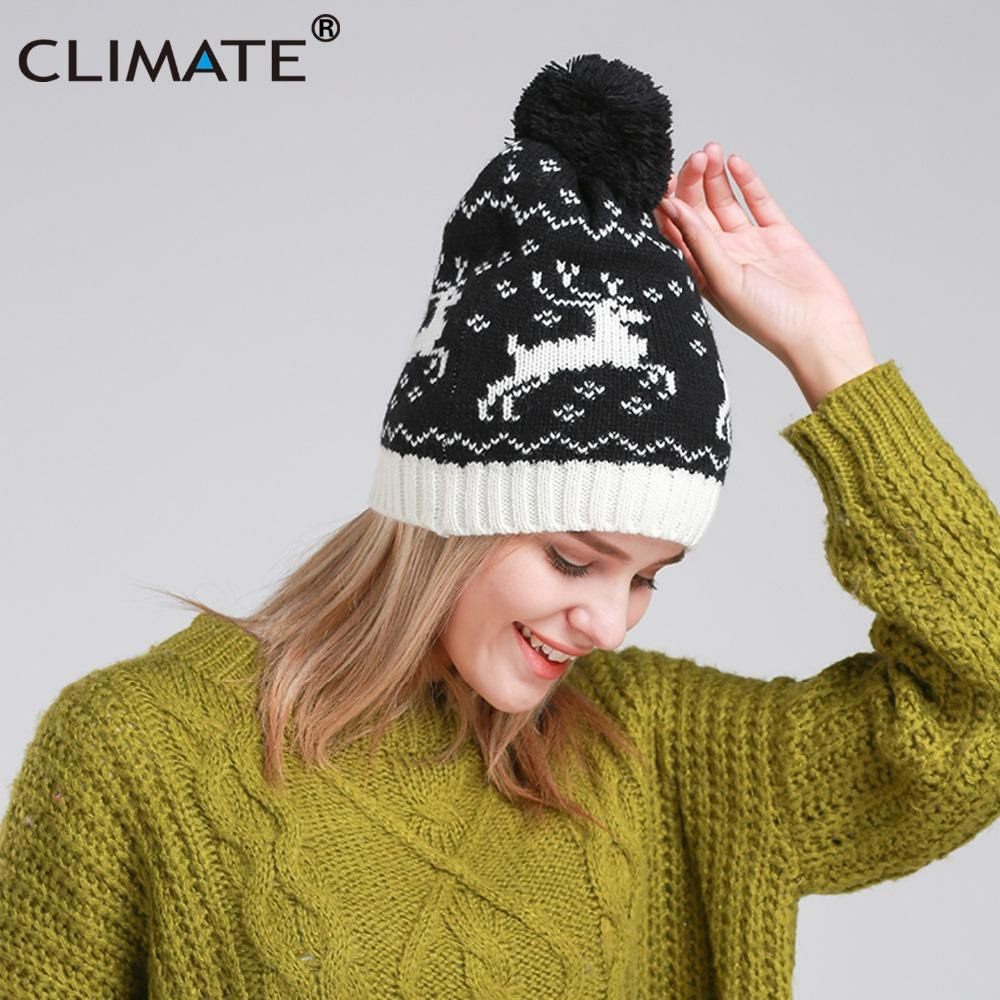 e25570116c7 CLIMATE Women Girl Christmas Deer Beanie Hat Winter Warm Knitted Pompon Hat  Beanie Women Cute Deer Pompon For Winter Hats Beanie Hats From Oldnavy