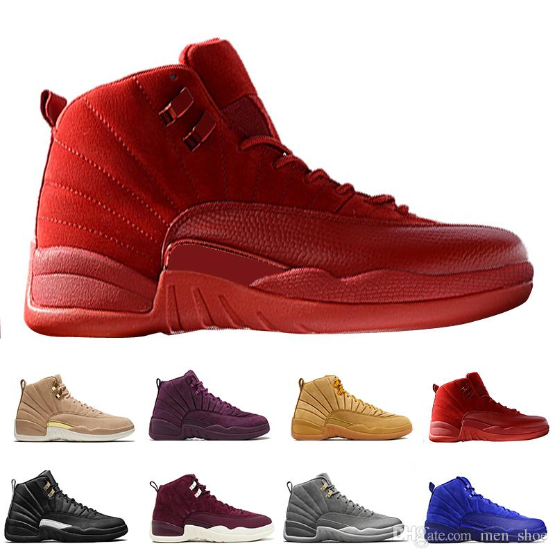 5441a79c846 12 12s Mens Basketball Shoes Bordeaux Dark Grey Flu Game The Master Taxi Playoffs  French Blue Barons Royal Red Suede Sunrise Sports Sneakers Basketball ...