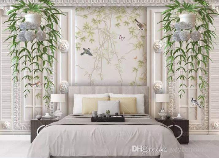 Satın Al özel Duvar Kağıtları Ev Dekor Yeni Asılı Yeşil Asma Oturma