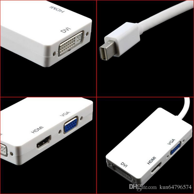 3 in 1 Thunderbolt Port Mini Displayport HDMI DVI VGA Display Port Adapter Cable for Mac Macbook Air iMac Microsoft Surface Pro