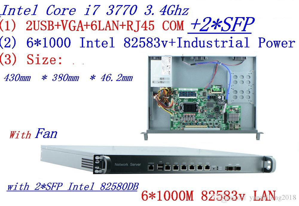 Intel Quad-Core i7 3770 3 4Ghz Smart 1U Network Firewall soft routing 8  Ports 6*1000M 82583V with 2* intel SFP 1000M