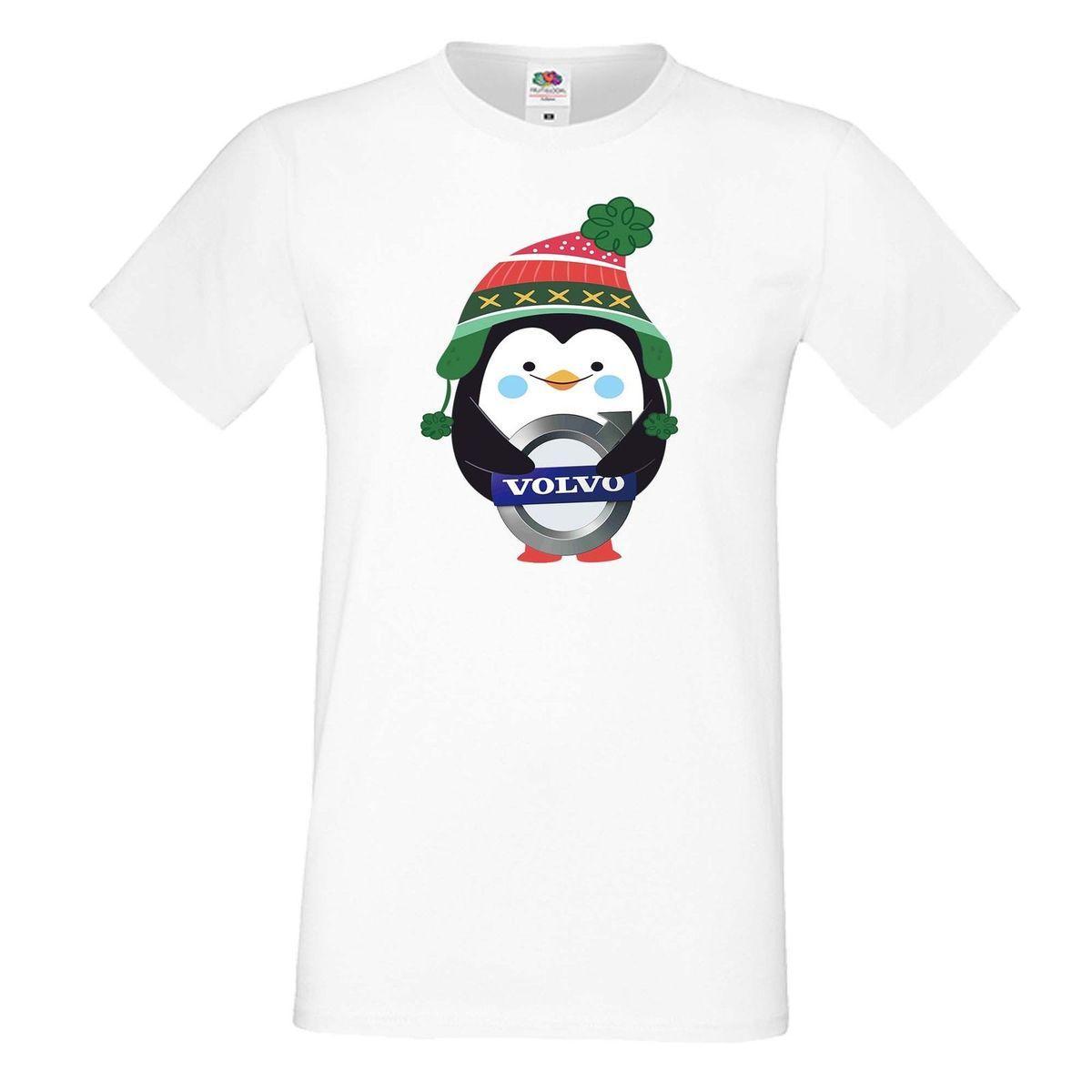 T Shirt Weihnachten.Herren Men T Shirt Tee Volvo Penguin Winter Gift Geschenk Weihnachten