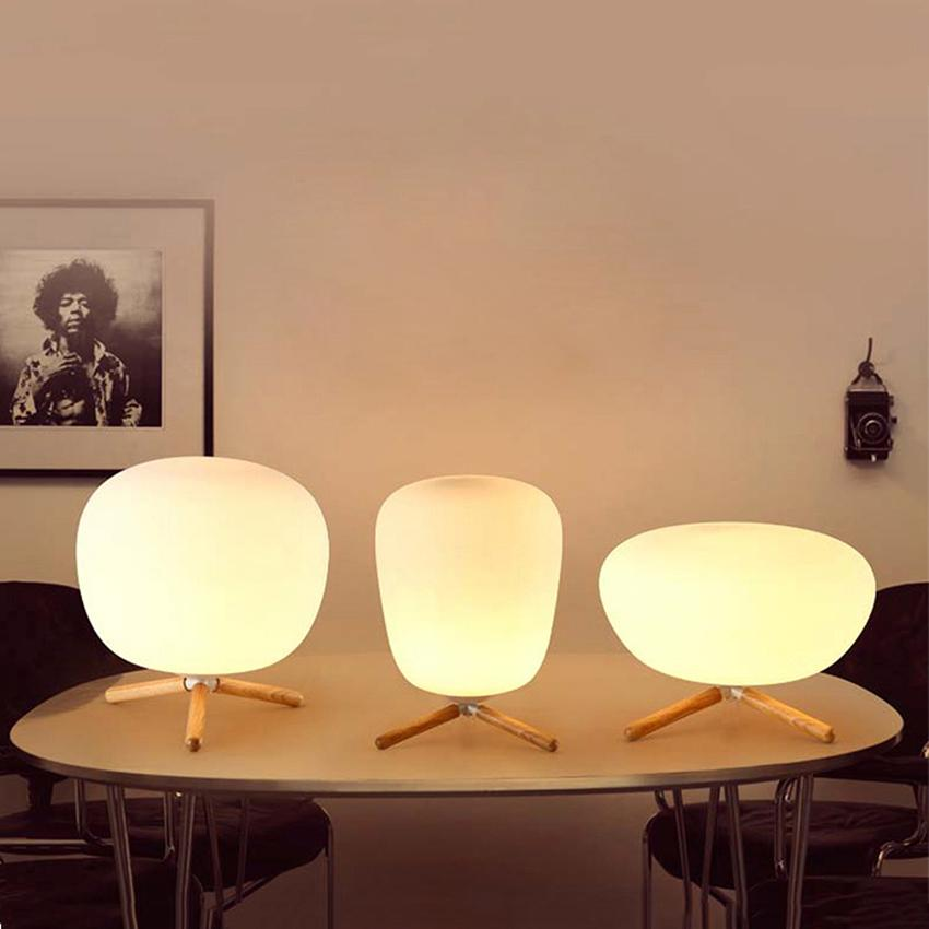 High Quality 2019 Post Modern Bedroom Bedside Table Lamps Reading Learning Table Lights  Solid Wood LED Desk Light Glass Desk Lamps Lights Fixtures From ...