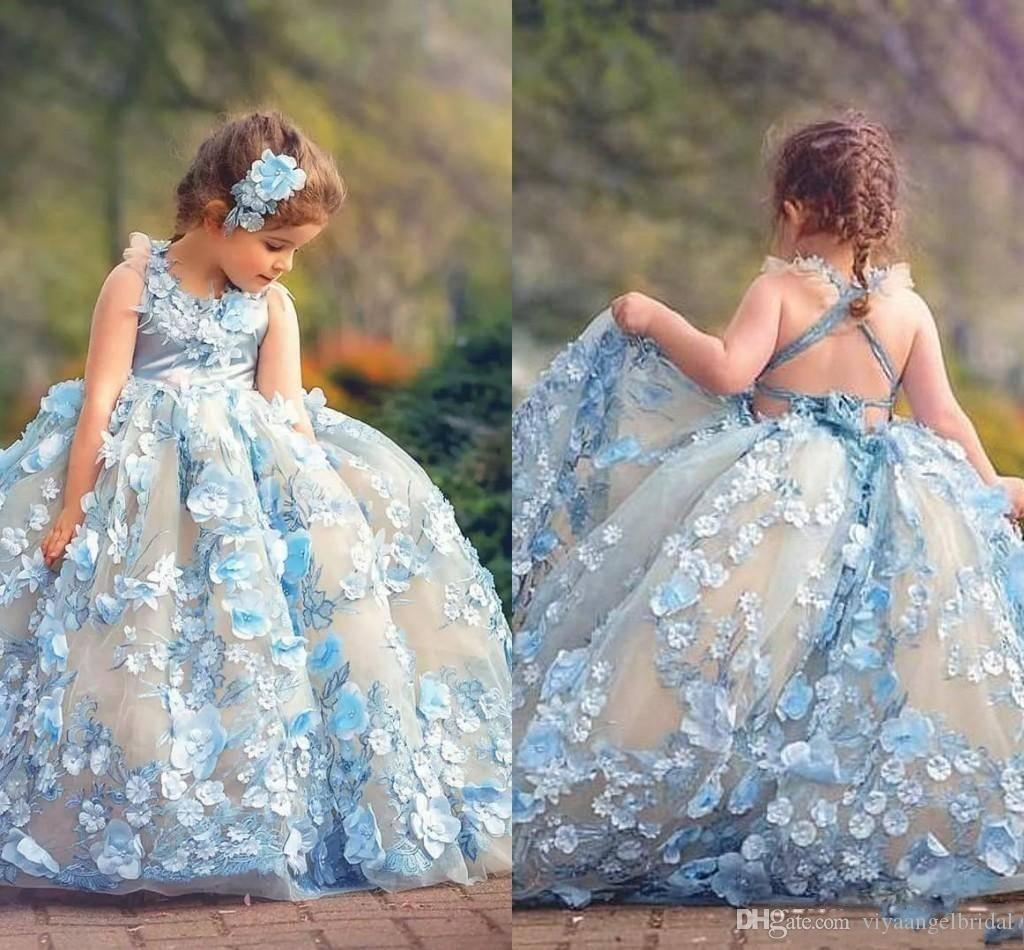 Ball Gown 2019 Light Blue Toddler Girls Pageant Dresses With 3D Appliques  Cross Criss Straps Backless Flower Girl Princess Kids Party Gowns Flower  Girl ... c0e7b1061bd9