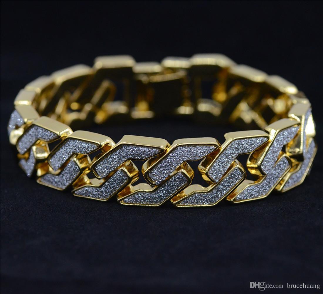 Gold silver color Men hip hop bracelet iced out 22.5cm long link chain Exquisite Frosted Bracelets Gifts or Rap Man