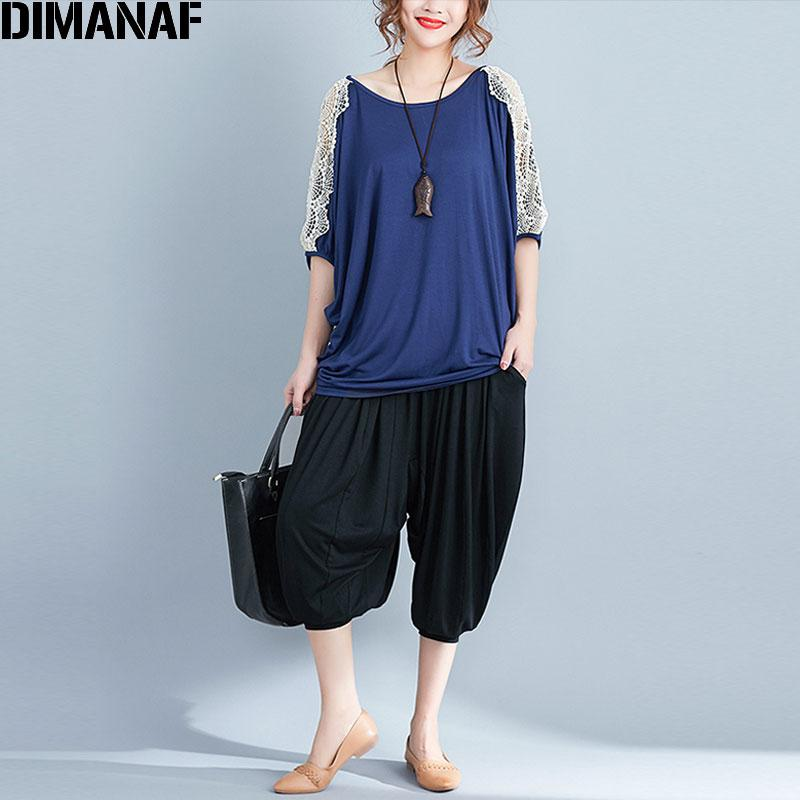 e32d19e9e9b DIMANAF Women T Shirt Plus Size Summer Solid Tops Tee Cotton Oversized  Batwing Sleeve Lace Female Casual Large Loose Tshirt 2018 Poker T Shirts  Tshits From ...