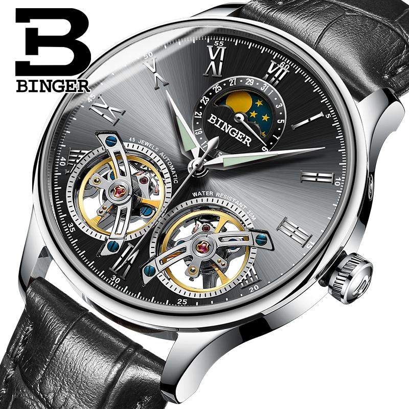 694b3572807 Compre Suíça Homens Mecânicos Relógios Binger Papel De Luxo Da Marca De  Esqueleto De Pulso Sapphire Homens Relógio À Prova D  Água Relógio Masculino  Reloj ...