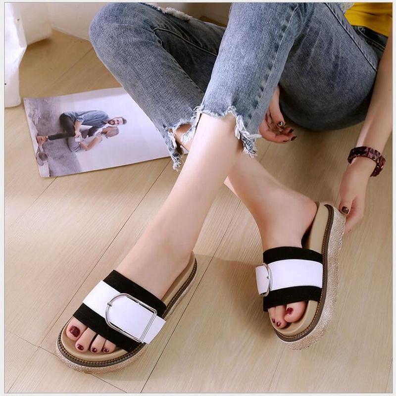e10938ac3b00b5 Wholesale 2018 Summer Fashion Slippers Shoes Women Flats Microfiber Buckle  Sandals Ladies Slides Mid Platform Heels Mules Women Slippers Rain Boots  From ...
