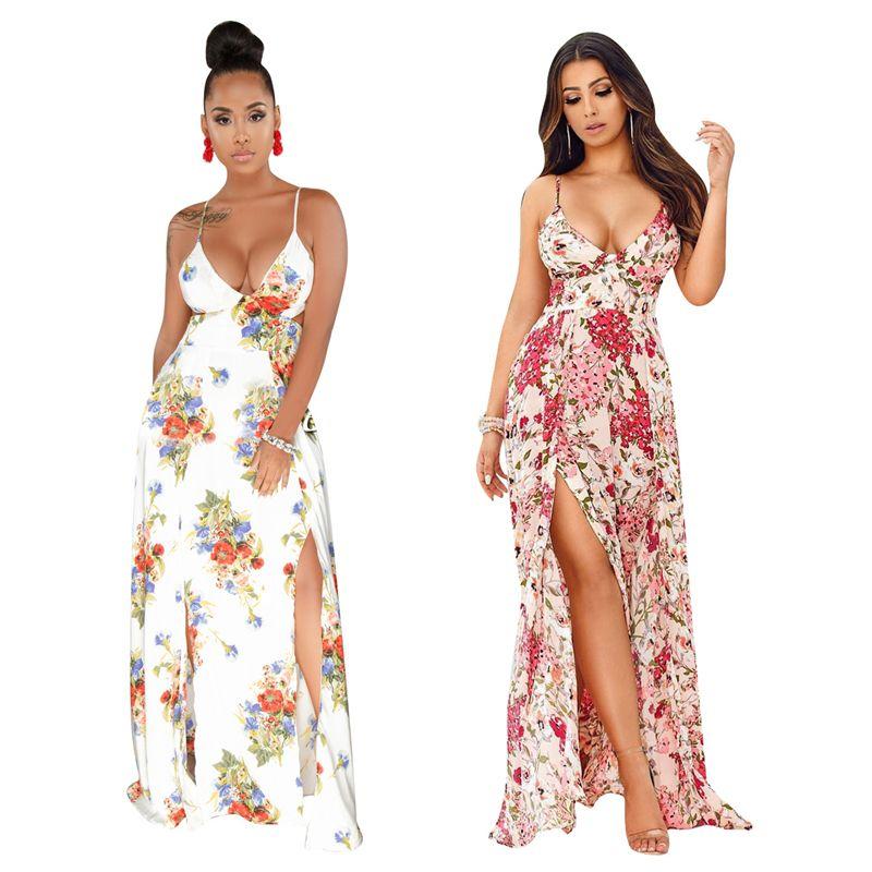 32e92fd6c388 Floral Print Bohemian Dress Women Sexy Deep V Neck Spaghetti Straps Open  Back High Slit Casual Maxi Summer Beach Dresses Teenage Dresses For Sale  Long ...
