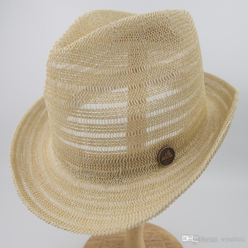 ff115d82bca Knitted Paper Straw Sun Natrual Style Hat Unisex Summer Trilby ...