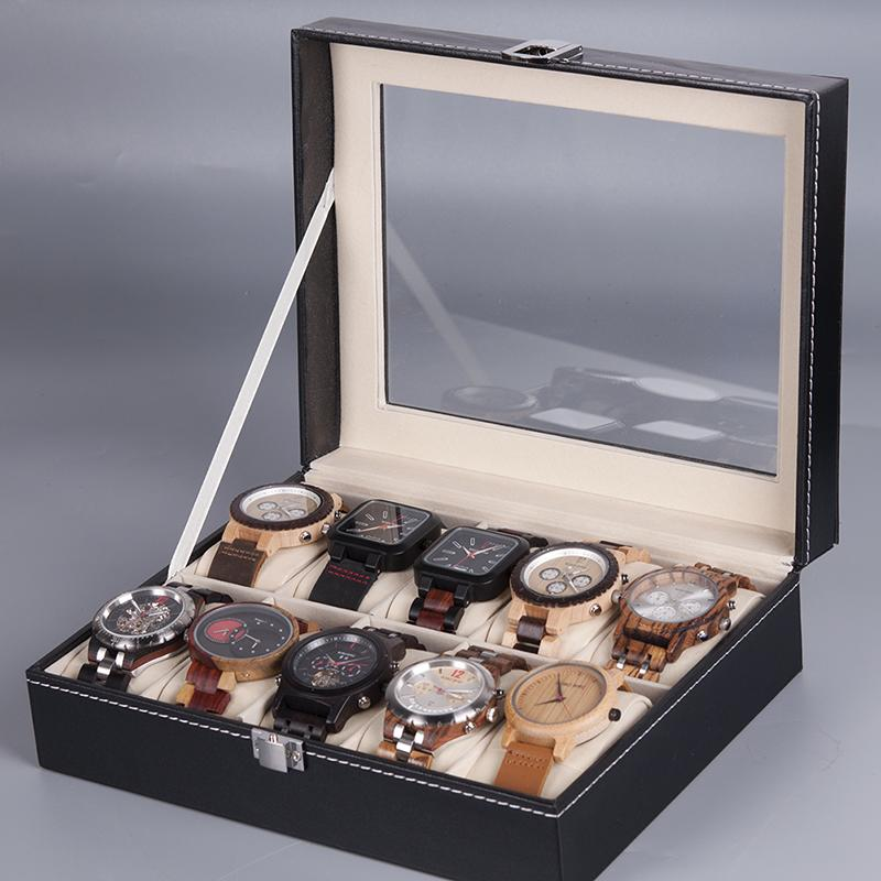 Jewelry & Watches Watch Box Leather Display Case Organizer 6 Slot Boxes, Cases & Watch Winders