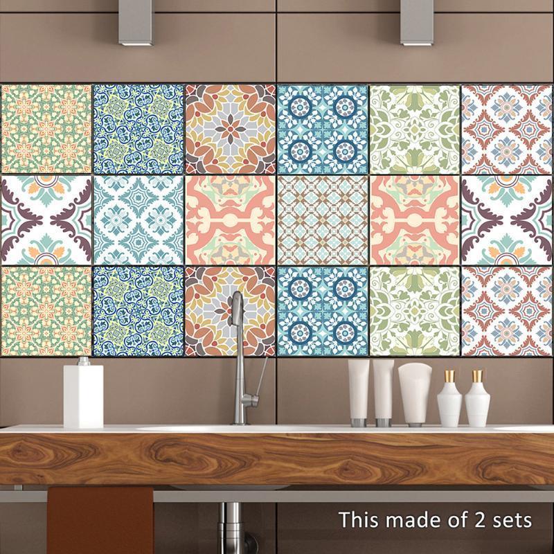 retro vintage tiles stickers bathroom kitchen washable waterproof