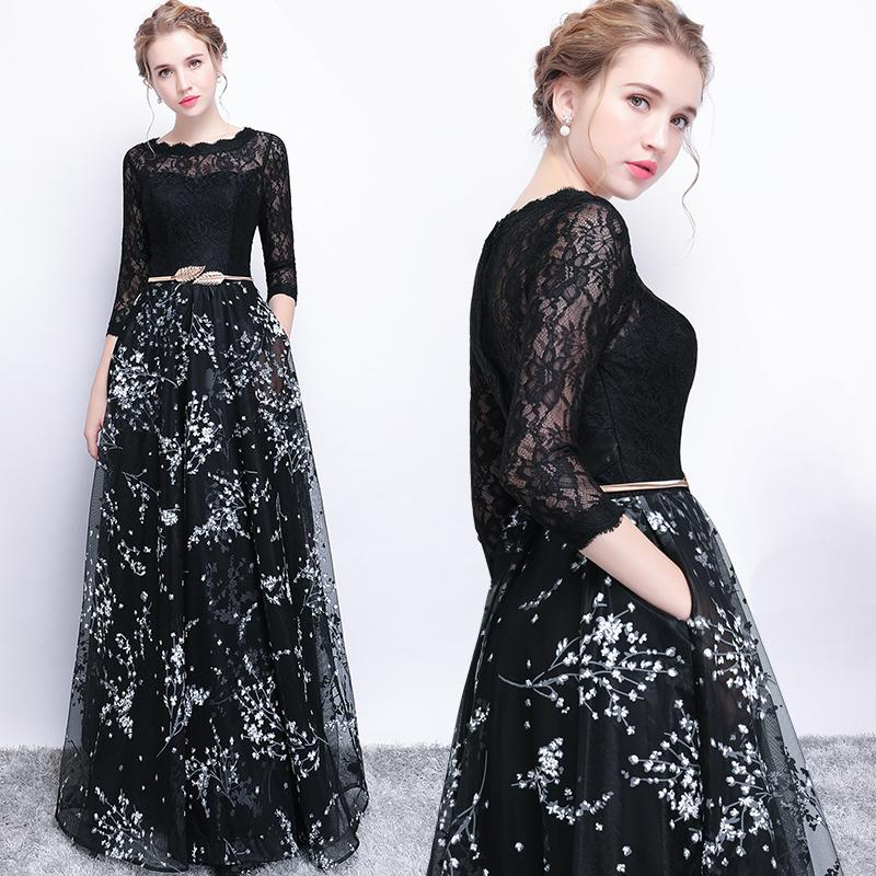 Ssyfashion New Banquet Prom Dress The Bride Simple Black Lace ...
