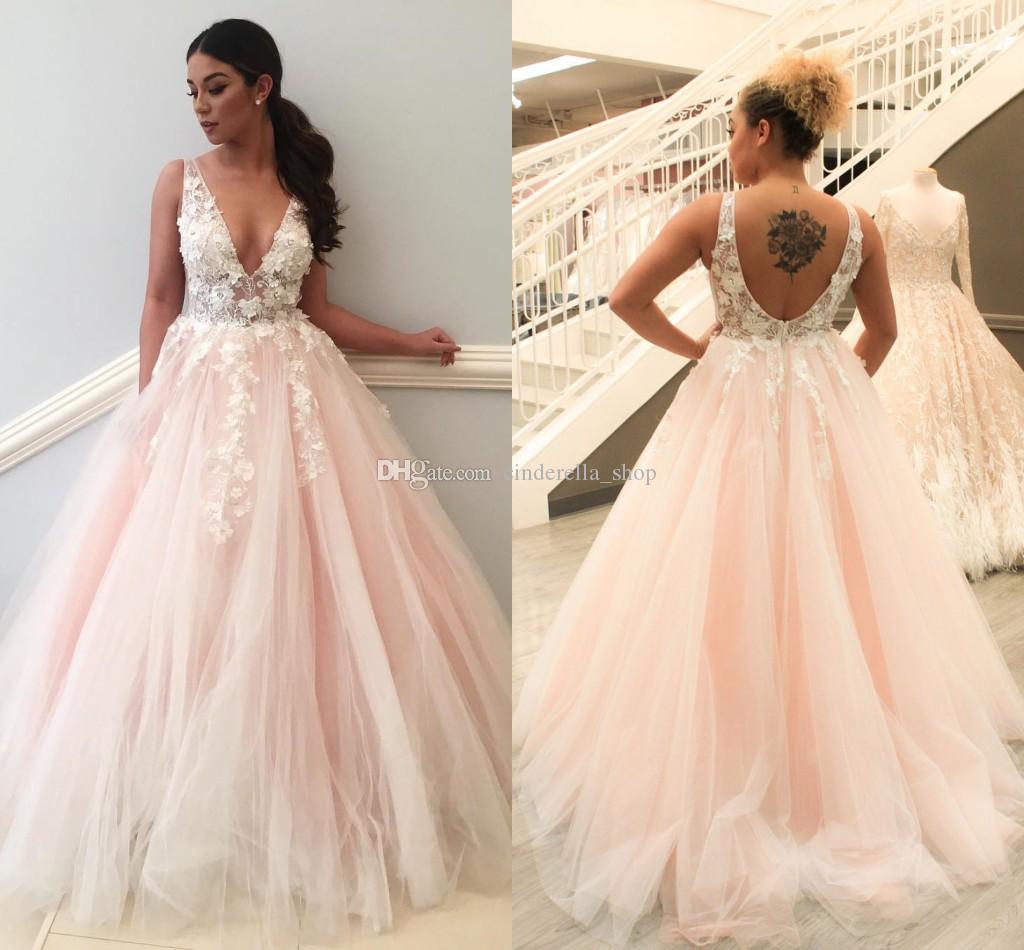 2018 Princess Plus Size Blush Ball Gown Prom Dress Deep Spaghetti V ...