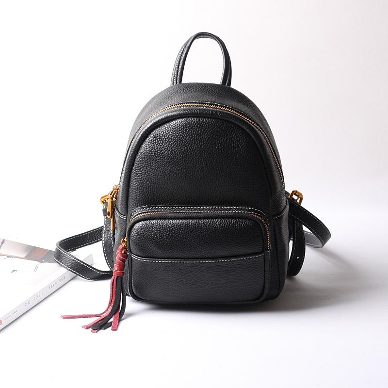 87f374ebfd Wholesale Luxury Women S Black Genuine Leather Backpacks With Fashion Design  High Quality Female Cow Leather Shopping  Amp  School Bags Rucksacks  Bookbags ...