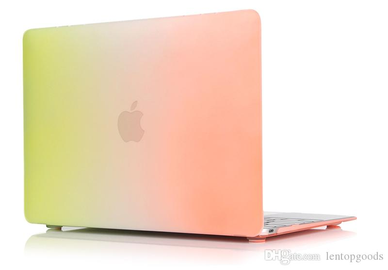 "Plastic Colorful Rainbow Design Book Cover for Apple Macbook 12"" Hard Shell Case for Macbook 12inch Protective Shell+Keyboard Cover"