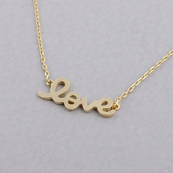 2018 Fashion shapes of letters Gold-color LOVE plated Necklace Pendant Necklace for women gift Wholesale