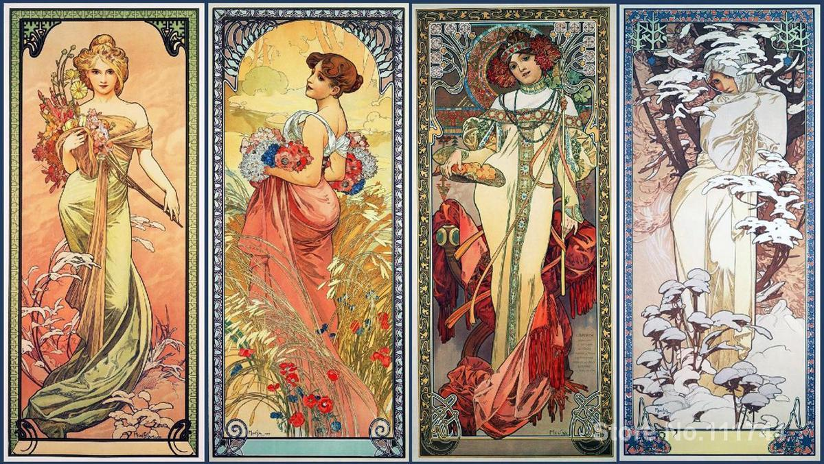 Online Cheap Office Art Series Of The Four Seasons By Alphonse Mucha Canvas  Oil Painting High Quality Hand Painted By Yuntengfu44190 | Dhgate.Com