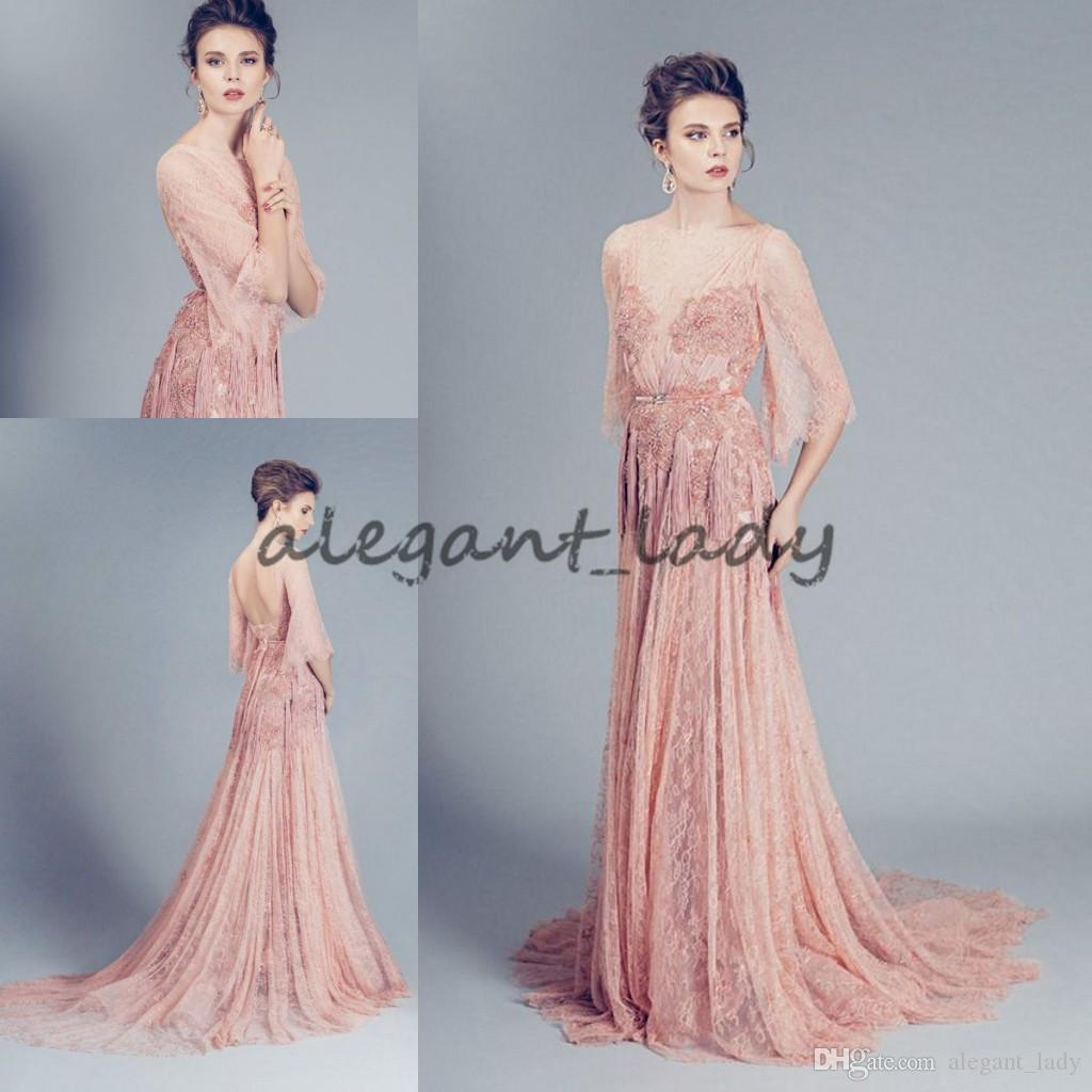 Alfazairy Couture Blush Lace Evening Formal Wear Gowns 2018 Modest ...