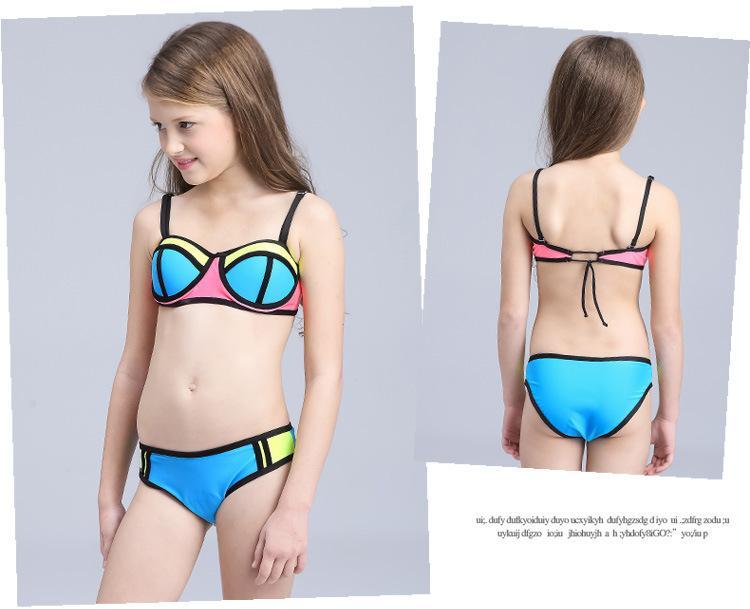 dee4df07 Compre Niñas Traje De Baño Bikini De Dos Piezas Sexy Nuevo Traje De Baño De  Moda Patchwork Color Sujetador Trunks Super Nylon Transpirable Suave LC749  1 A ...