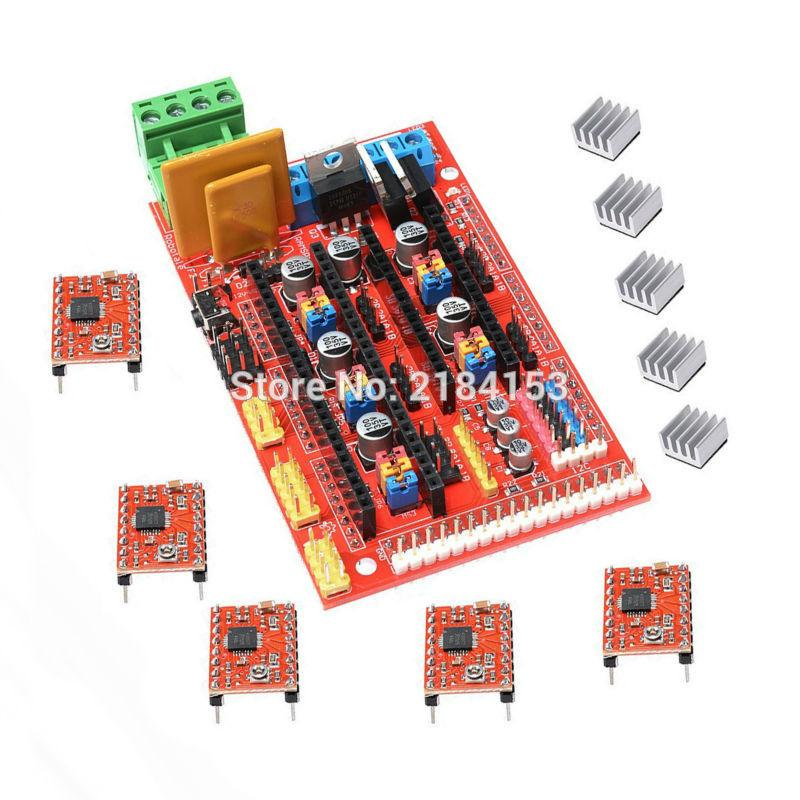 Free Shipping Factory Directly Wholesale 3D Printer Kit RAMPS 1 4 Control  Board 5Pcs 4988 Driver With Heat Sink