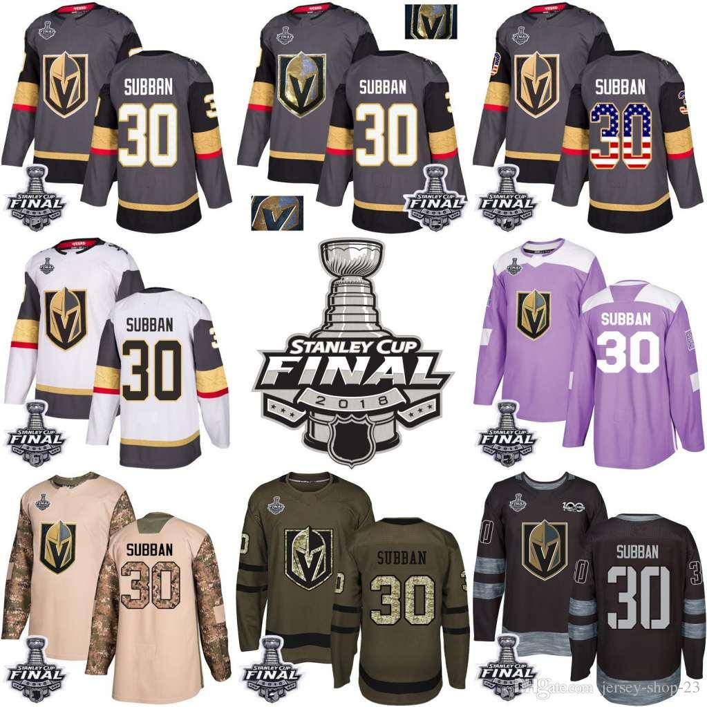 a50b56469 2019 2018 Vegas Golden Knights Stanley Cup Final 30 Malcolm Subban Gray USA  Flag Fashion Purple Fights Cancer Practice Gold Hockey Jerseys From Jersey  Shop ...