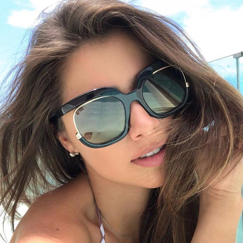 516a483b5c08d Compre XONIX Moda Feminina Tendência Oculos De Sol Feminino Grande Quadro  Óculos De Sol Da Marca De Design Rodada Lente Óculos De Sol Uv400 Mulheres  De ...
