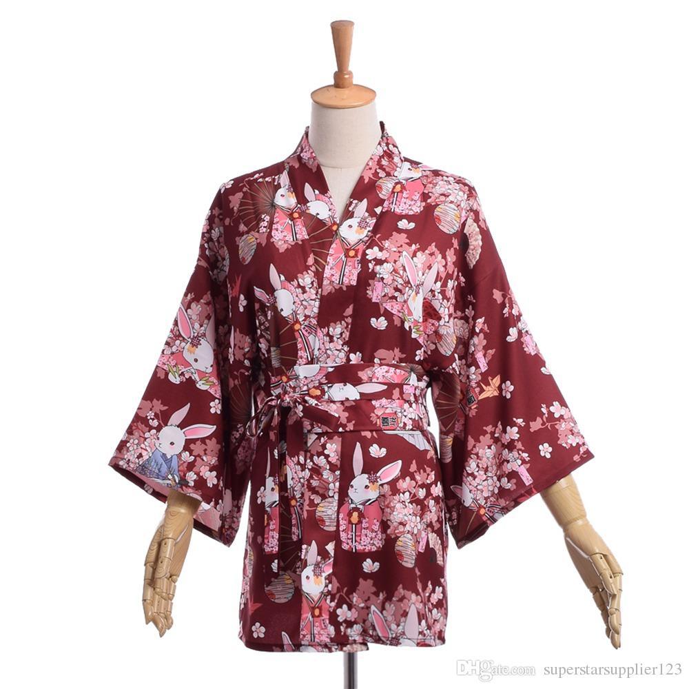 Japanese Style Casual Matsuri Yukata Women Prayer Rabbit Flower Kimono Jacket Yukata Coat Outwear Tops