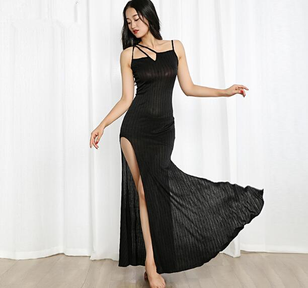 28726d44e 2019 New Women One Piece Belly Dance Costume Sexy Side Slit Long Skirt  Oriental Dancer Practice Wear Black Red Purple From Layette66, $41.39 |  DHgate.Com