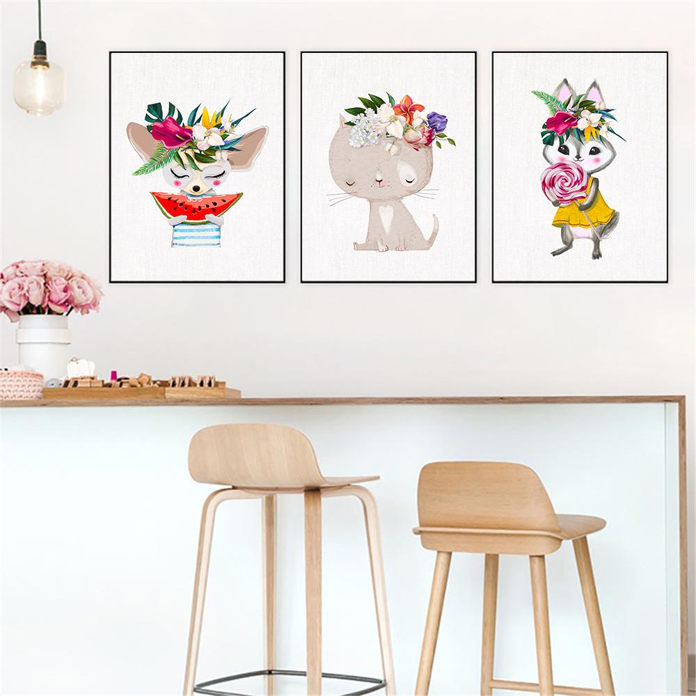 2019 Decor Kids Room Wall Cartoon Animals Poster Art Print Canvas Cat Cute  Rabbit Pictures Lollipops And Watermelon Flowers Paintings From Aliceer, ...