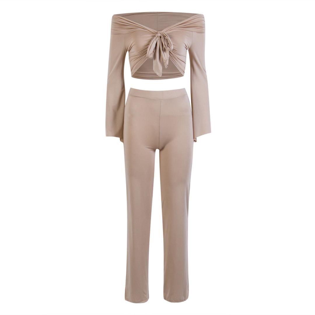 46958aa2d1af7 Thefound 2019 Fashion Women Crop Top Blouse Long Pants Two-piece Playsuit  Bodysuit Jumpsuit Romper Set