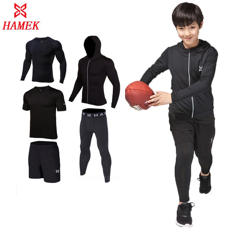 74dfd72b0 2019 Compression Kids Boys Sport Suits Quick Dry Running Sets ...