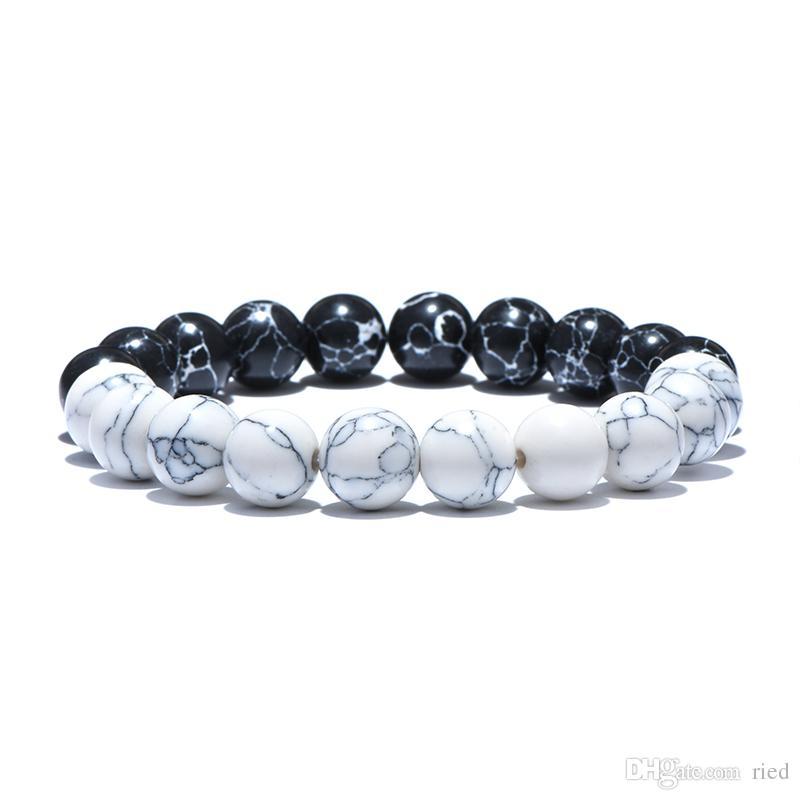 Schwarz Weiß Naturstein-Korn-Mann-Armband Taiji Yin Yang Buddha Hand Strand Braclet für Mens Personalisierte Türkis Schmuck Bijoux