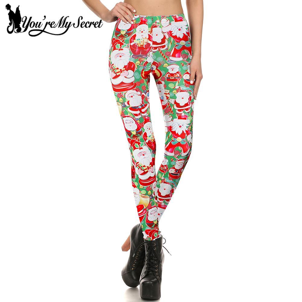 4a59bee2251b20 [You're My Secret] NEW Ugly Christmas Leggings Santa Claus Cartoon Print  High Elasticity Fashion Casual Xams Leggins Women Pants