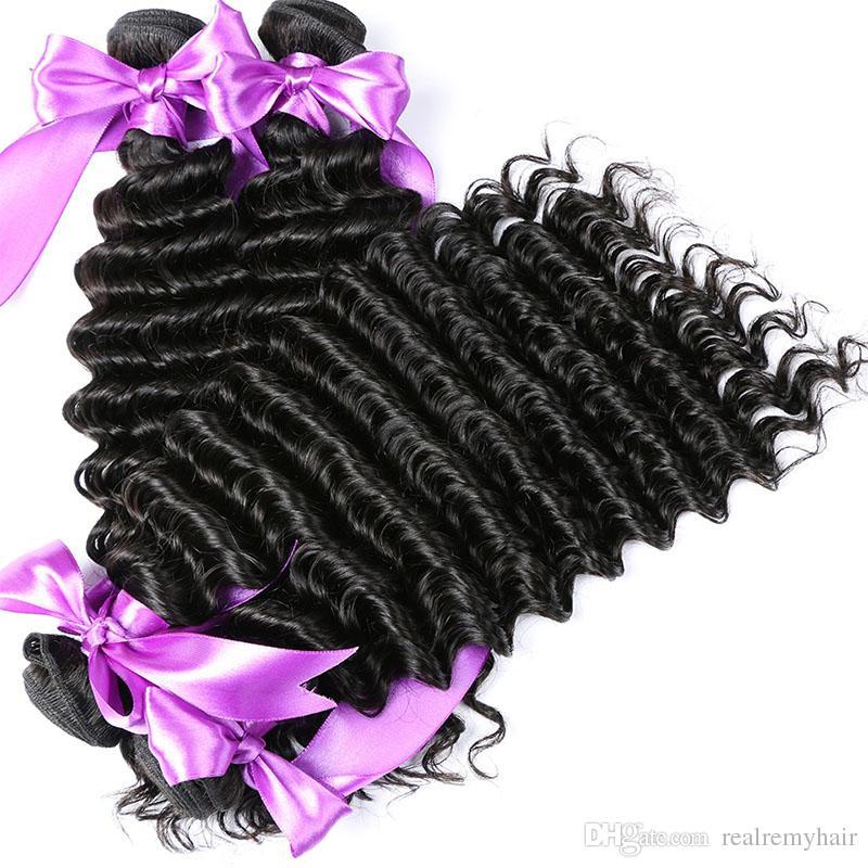 Capelli brasiliani dell'onda profonda 3 pacchi con chiusura libero 3 parti doppie estensioni del tessuto dei capelli umani di trama doppia parte con chiusura del pizzo
