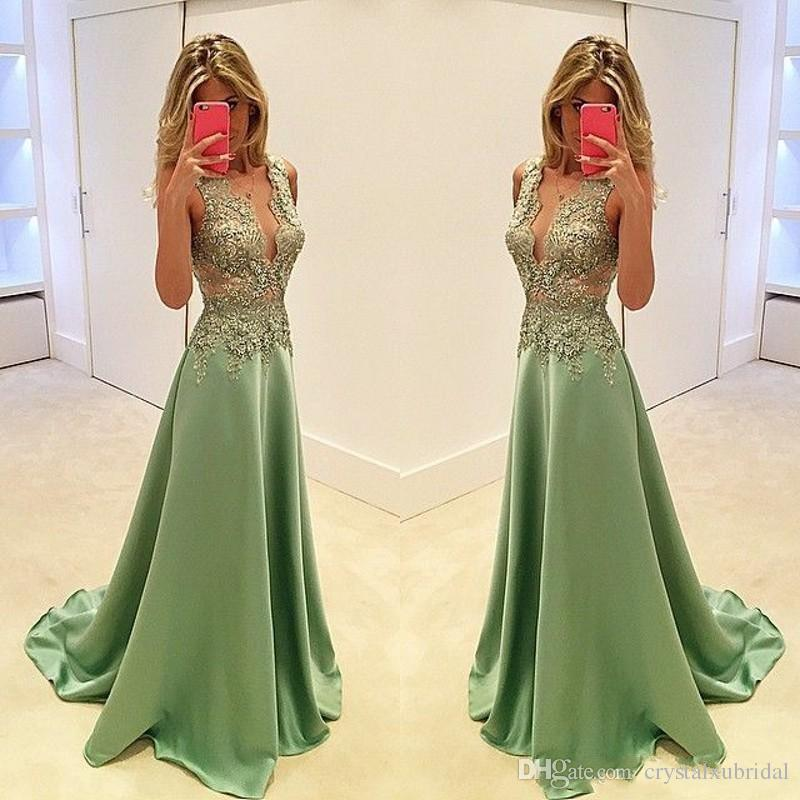 2018 Sexy Evening Dresses Wear Elegant V Neck Olive Green Satin Lace Appliques Beading Illusion Long Prom Gowns Plus Size Formal Party Dress