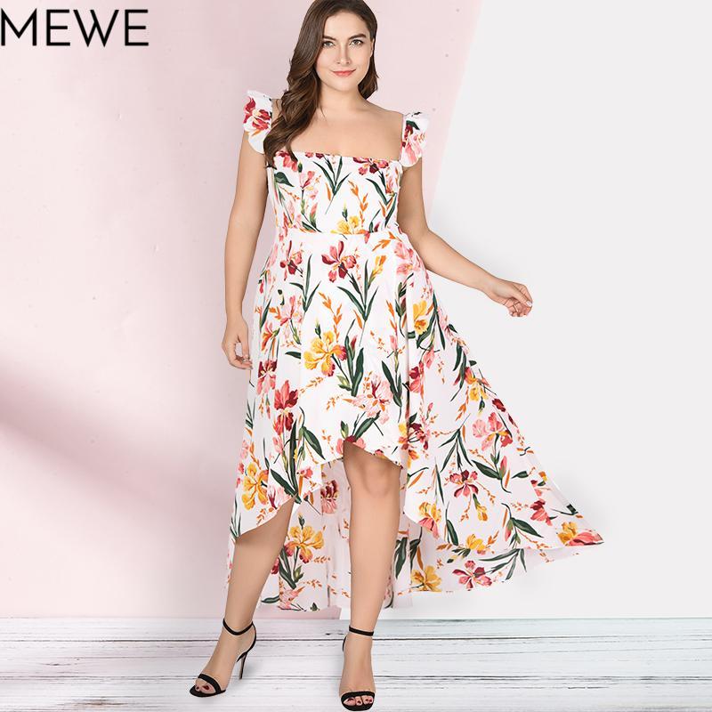 1f7492d3a Compre Mulheres Summer Dress 2018 Boho Praia Longo Dress Plus Size 5xl Moda Ruffle  Maxi Branco Vestidos Florais Senhoras Casual Vestido De Verão 6xl De ...