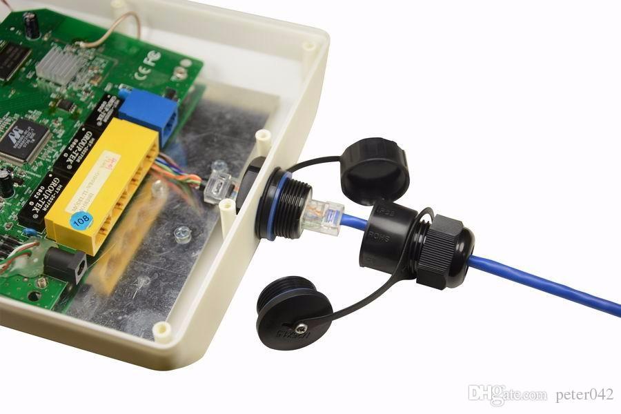 Conector de fio de rede RJ45 Rj45 M25 F / F singe cabeça Soquete Unshielded com tampa interna / out à prova d 'água