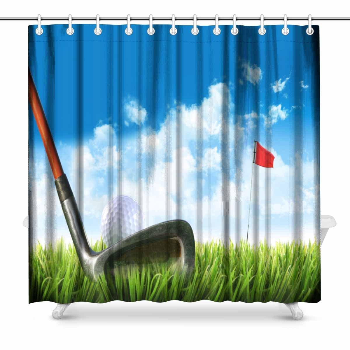 2019 Aplysia Golf Ball With Tee In The Grass Against Blue Sky Bathroom Accessories Shower Curtain Hooks From Icelly 2842
