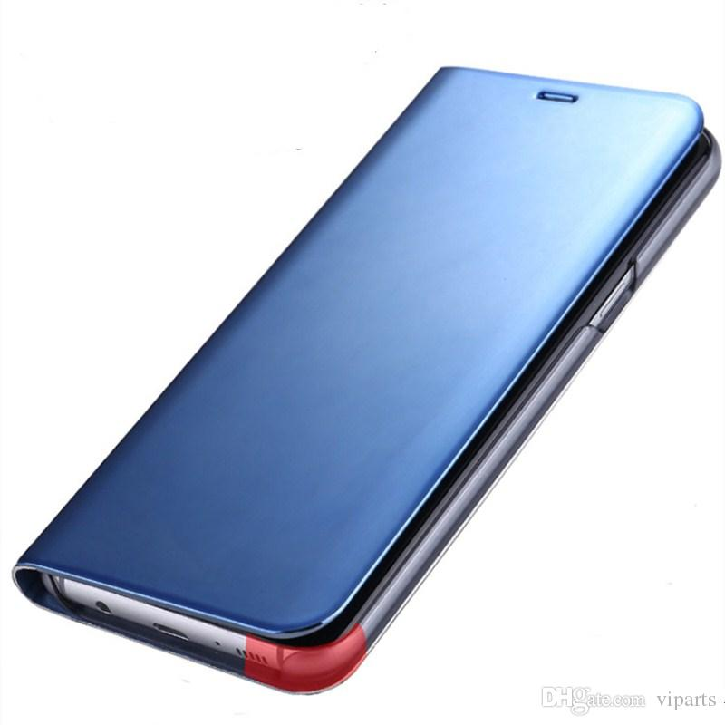 Miroir Wallet Vertical Kickstand Case Pour Samsung Galaxy S9 Plus Flip Plating Smart Fenêtre Voir Couverture
