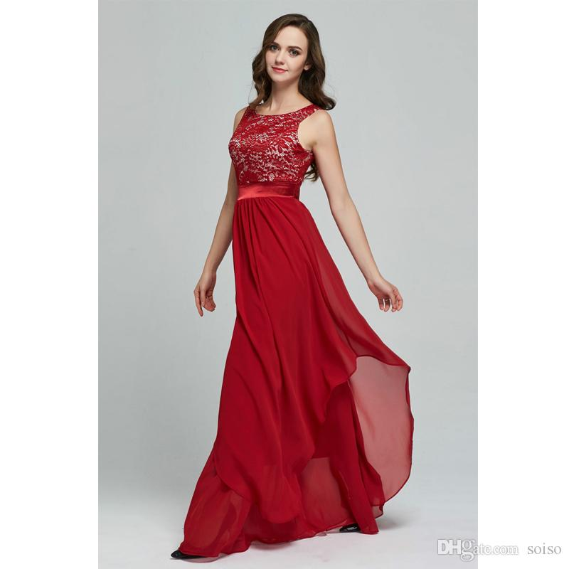 95f80e8abe35 2018 New Elegant Sleeveless Chiffon Lace Stitching Floor-length Women Party  Dress Prom Evening Red Long Dress Female Clothing Clothes Evenin Evening  Dress ...