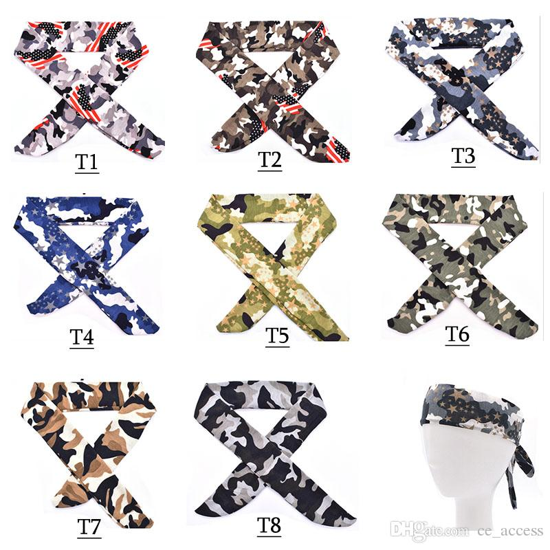 Camo Cotton Tie Back Headbands Stretch Sweatbands Hair Band Moisture Wicking Workout Men Women Bands 8 color free DHL