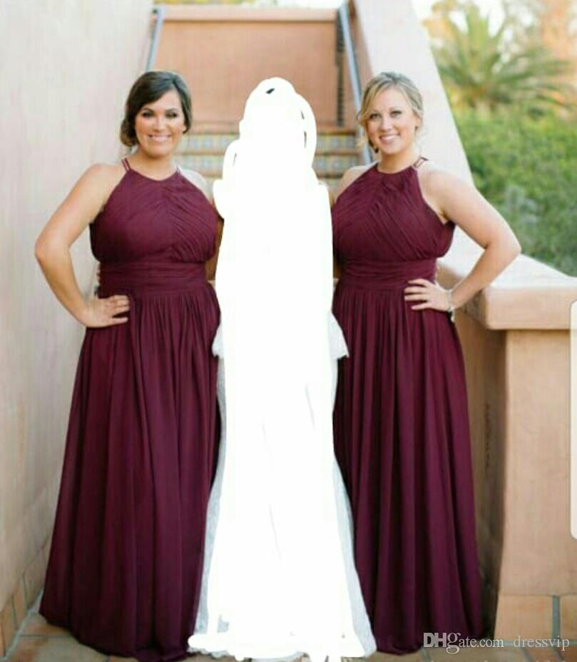 Burgundy Bridesmaid Dresses For Wedding A Line Chiffon Maid Of Honor Gowns  Floor Length Custom Made Prom Dress Cheap Bridesmaid Colors Bridesmaid Dress  ... 5683fc1a9262