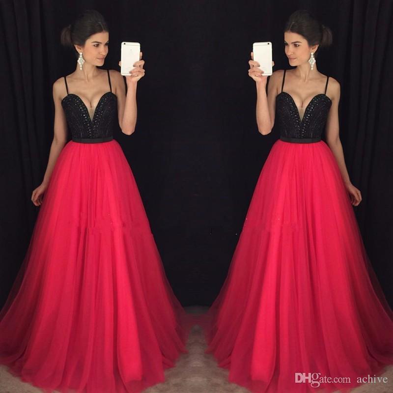 Estilo spaghetti straps con cuentas de cristal largo de baile 2020 del partido de tul rosa atractivo caliente de China, África Vestidos vestidos de noche por encargo