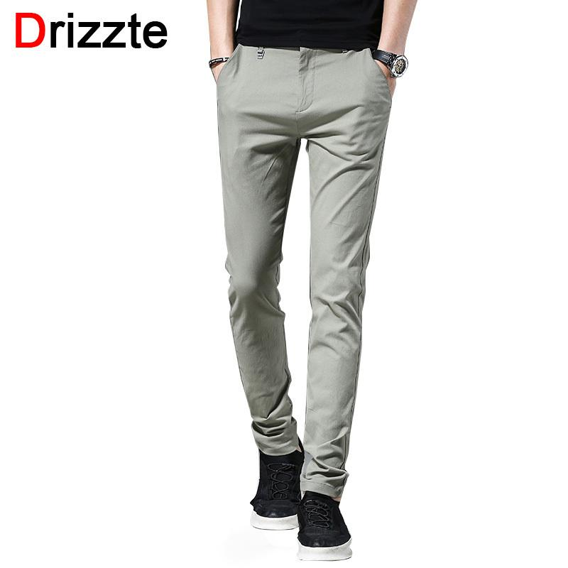 f655eb50501b 2019 Drizzte Size 28 40 Slim Fit Chinos For Men Cotton Soft Casual Pants  Trousers Black Grey Green Pants For Commuting Y1892505 From Tao02, $38.07    DHgate.