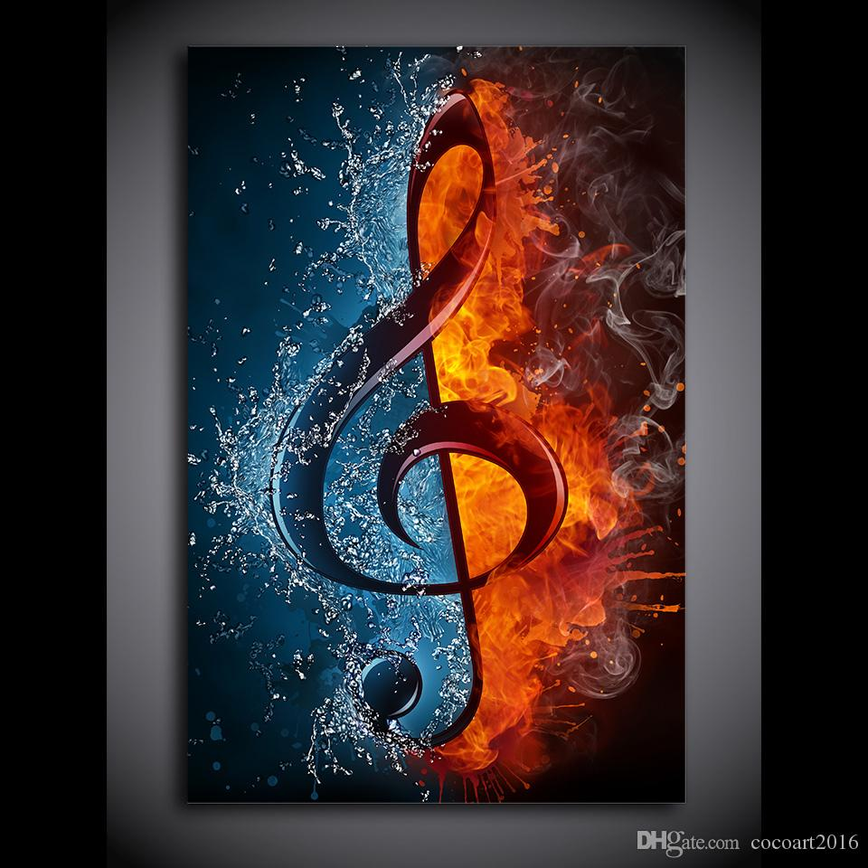 Satın Al 1 Parça Tuval Boyama Müzik Notu Alev Ve Su Hd Posterler Ve